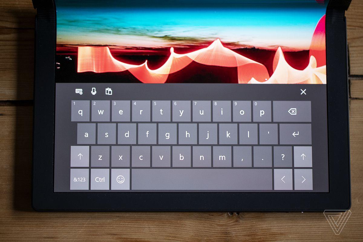 The ThinkPad X1 Fold's onscreen keyboard.
