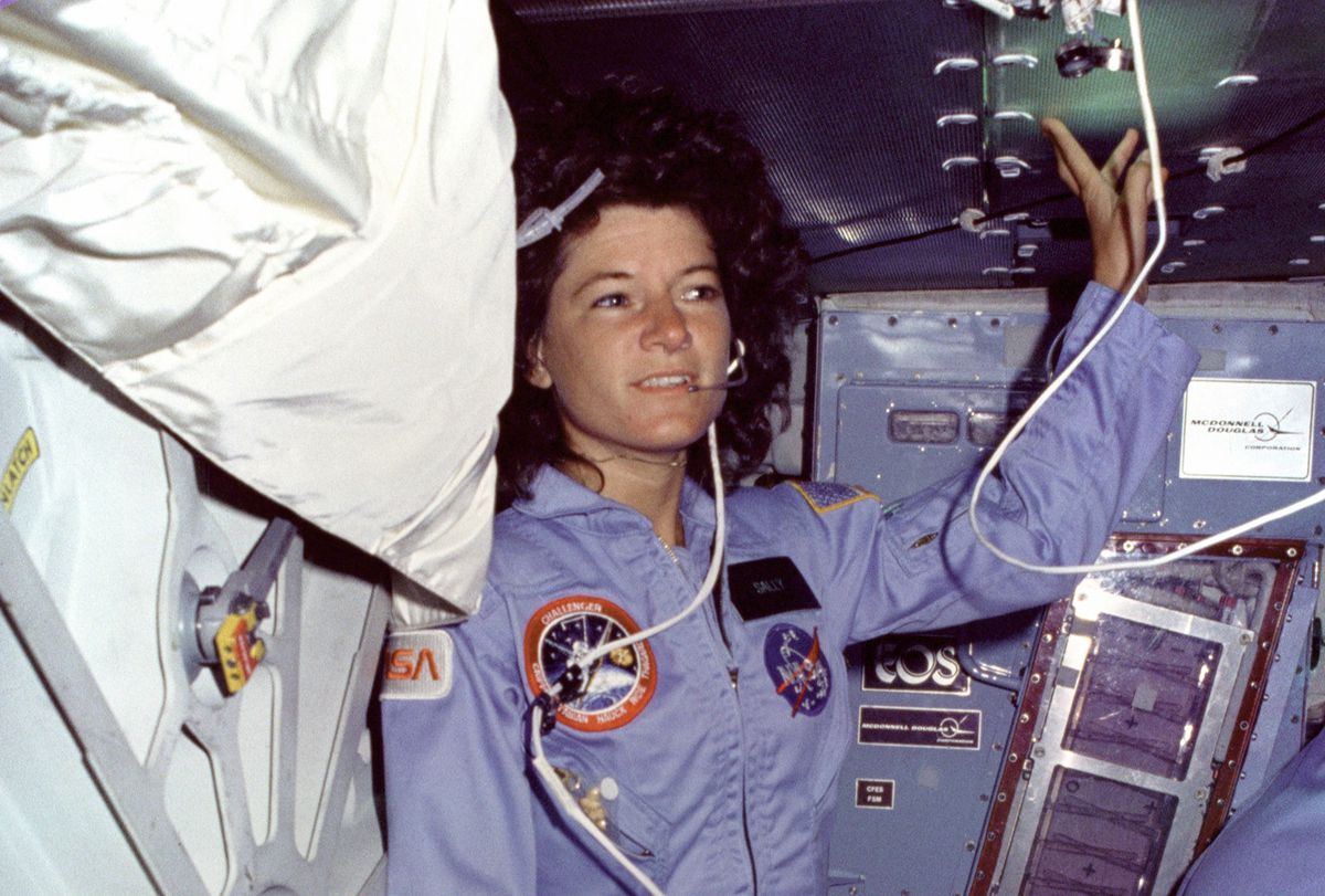 Sally Ride floating in space (she recommended weightlessness, if you had the chance to try it).