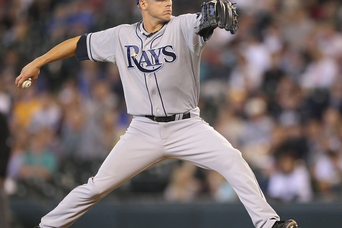 SEATTLE - JULY 31:  Relief pitcher Mike Ekstrom #54 of the Tampa Bay Rays pitches against the Seattle Mariners at Safeco Field on July 31, 2011 in Seattle, Washington. The Rays defeated the Mariners 8-1.(Photo by Otto Greule Jr/Getty Images)