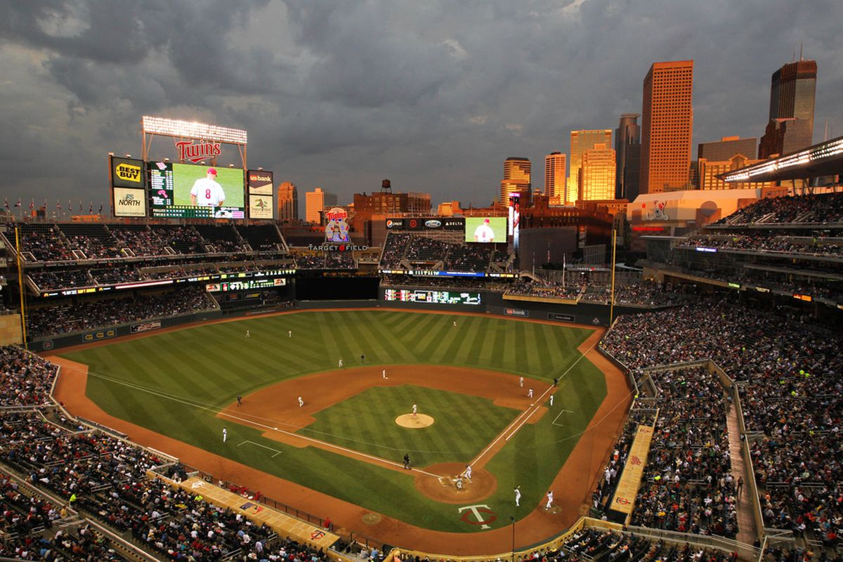 June 14, 2012; Minneapolis, MN, USA; A general view of Target Field during the sixth inning of the game between the Minnesota Twins and Philadelphia Phillies at Target Field. Mandatory Credit: Brace Hemmelgarn-US PRESSWIRE