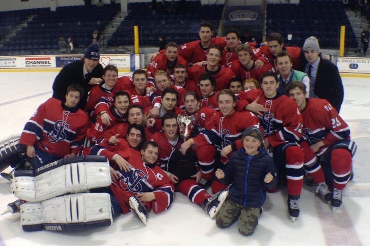 St. John's Prep players celebrate winning the 2015 Pete Frates Classic at Merrimack College