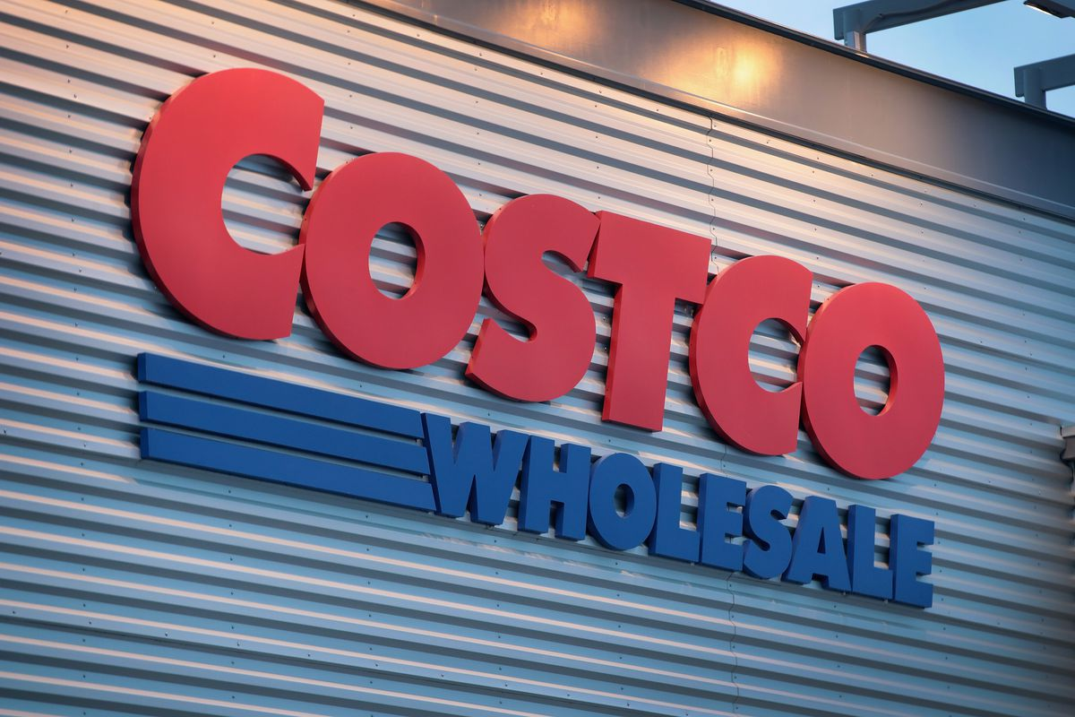A sign marks the location of a Costco store in Chicago.
