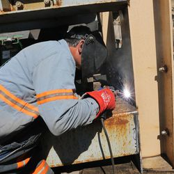 Guillermo Meza welds equipment at the Bronco Utah Mine near Emery on Wednesday, March 29, 2017.