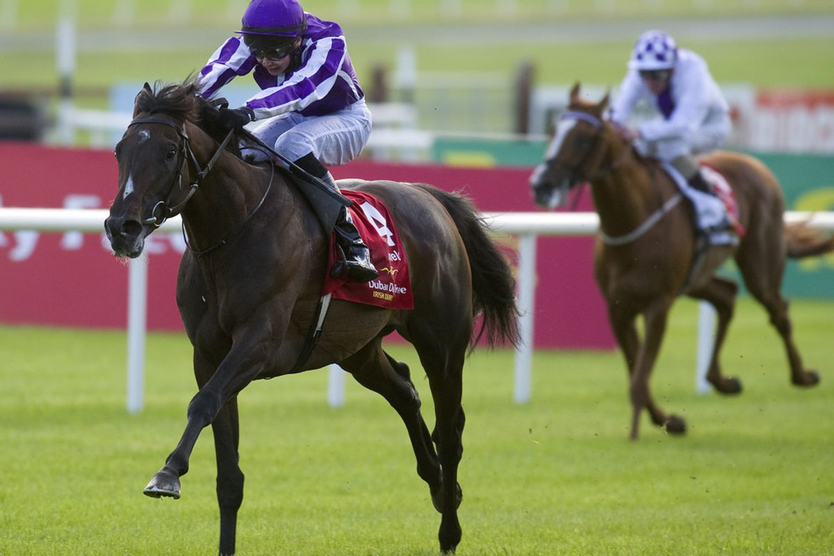 KILDARE, IRELAND - JUNE 30th:  Joseph O'Brien riding Camelot (GB) win the Group 1 Irish Derby at Curragh racecourse on June 30, 2012 in Kildare, Ireland. (Photo by Alan Crowhurst/Getty Images)