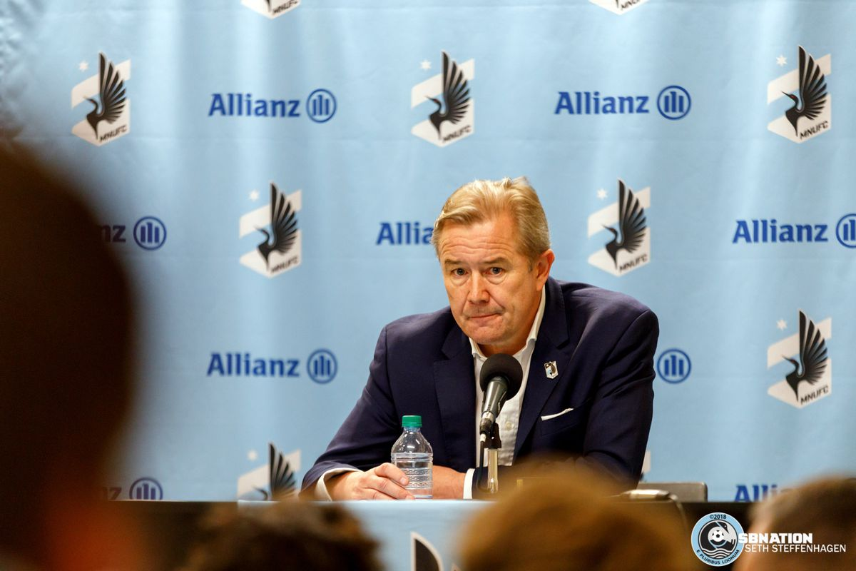 May 12, 2018 - Minneapolis, Minnesota, United States - Minnesota United head coach Adrian Heath takes questions from the media after the 3-1 loss to the San Jose Earthquakes at TCF Bank Stadium.