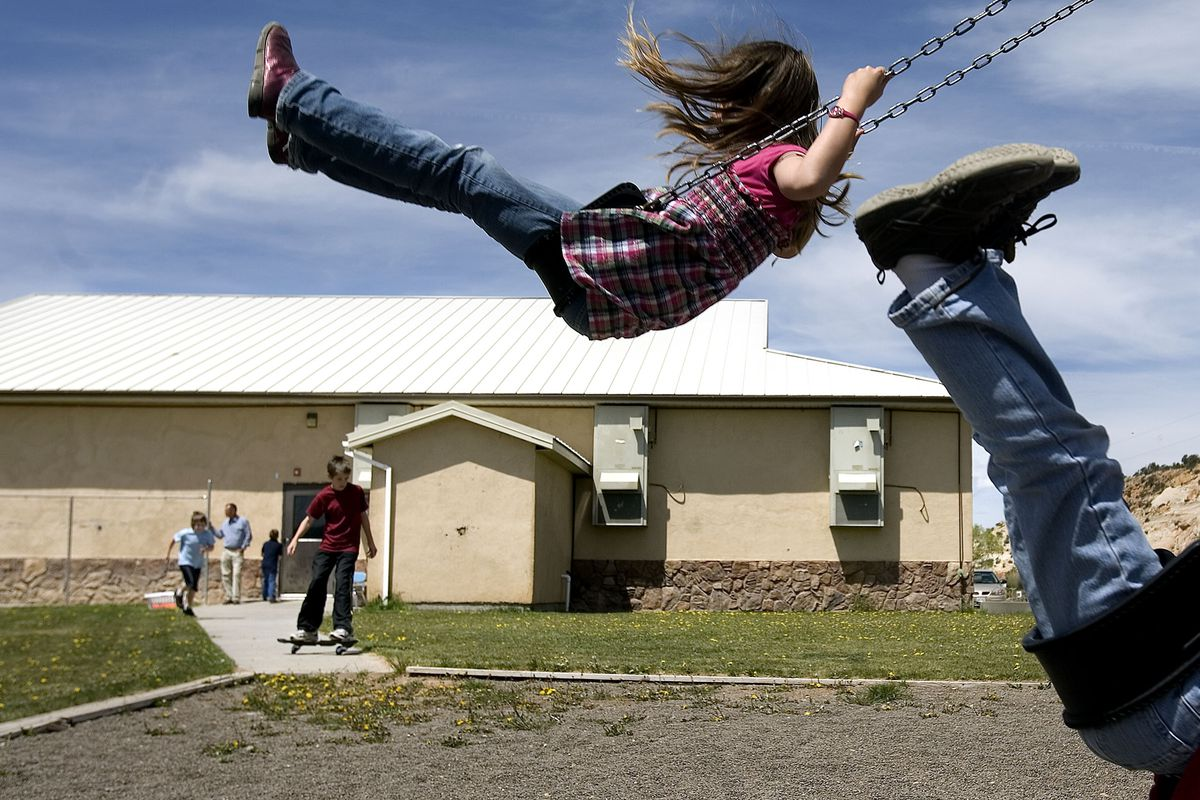 Children play during recess at Boulder Elementary School on May 17, 2010. While Garfield School Board has decided to keep tiny Boulder Elementary open, the school has lost its principal and main educator, Roy Suggett. Photo/Laura Seitz (Submission date: 05/20/2010)
