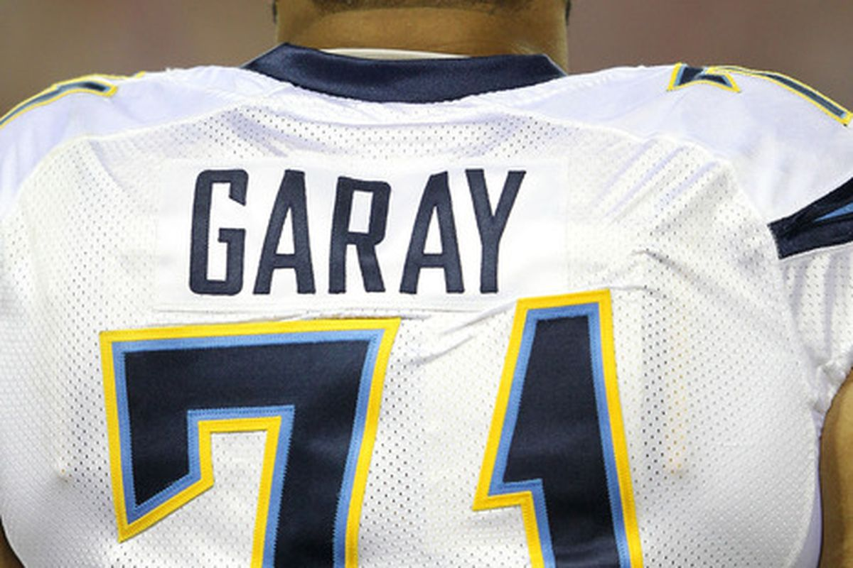 KANSAS CITY, MO:   Antonio Garay #71 of the San Diego Chargers looks on during their game against the Kansas City Chiefs at Arrowhead Stadium in Kansas City, Missouri.  (Photo by Jamie Squire/Getty Images)