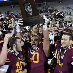 Loyola is fired up after winning the Class 8A state championship game. Worsom Robinson/For the Sun-Times.