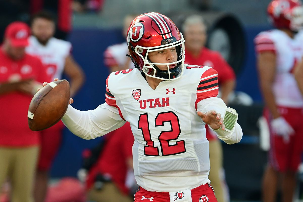 Utah Utes quarterback Charlie Brewer throws a pass during a college football game against the San Diego State Aztecs played on September 18, 2021 at Dignity Health Sports Park in Los Angeles, CA.