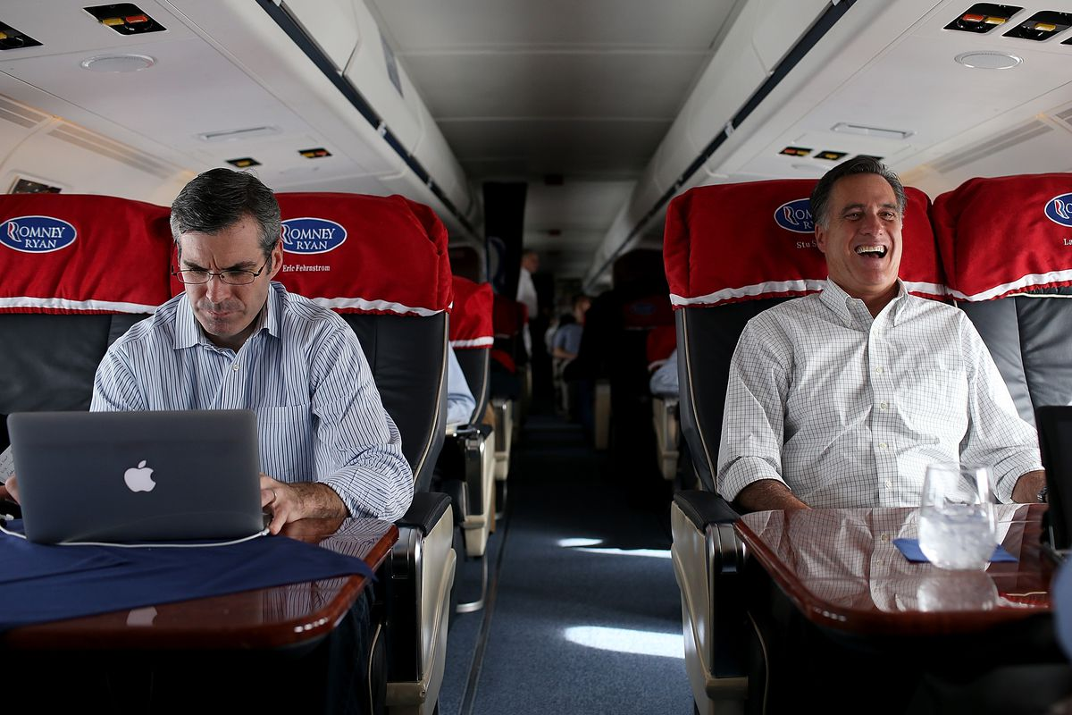 Romney and spokesperson Kevin Madden, during the 2012 campaign.