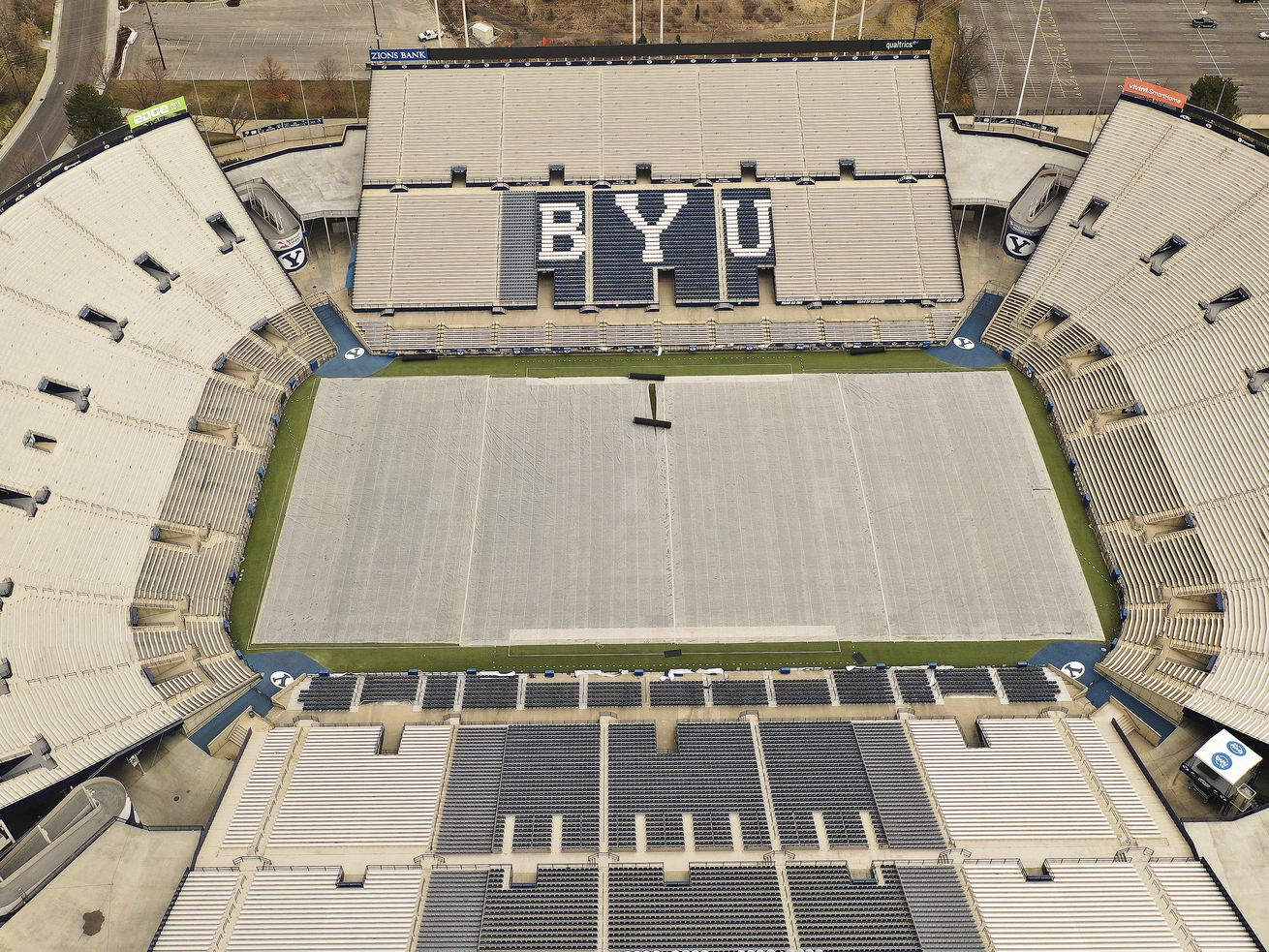 Lavell Edwards Stadium on the Brigham Young University campus in Provo is pictured on Wednesday March 11, 2020.