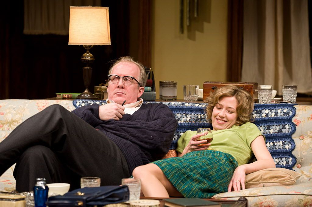 """Tracy Letts and Carrie Coon in Steppenwolf Theatre Company's production of """"Who's Afraid of Virginia Woolf?""""   Photo by Michael Brosilow"""