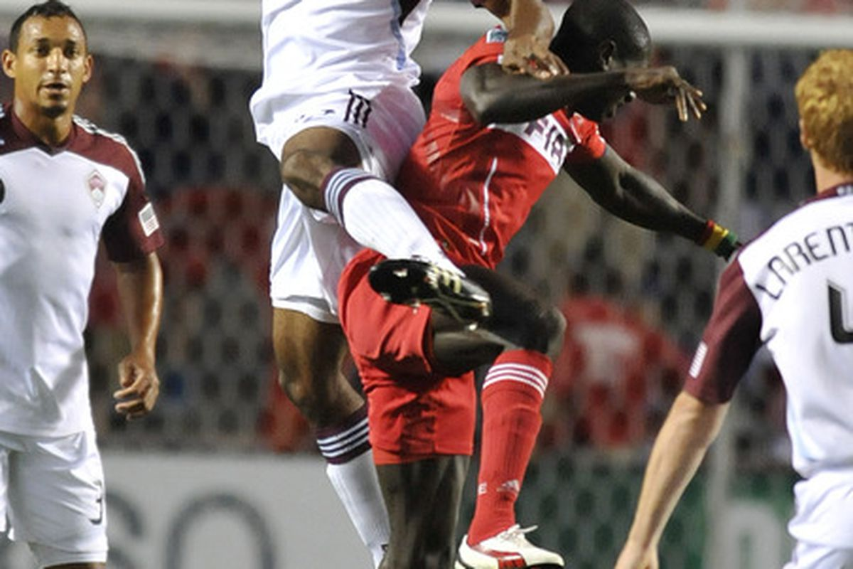 BRIDGEVIEW, IL - AUGUST 27: Marvell Wynne #22 of the Colorado Rapids and Dominic Oduro #8 of the Chicago fire fight for the ball in an MLS match on August 27, 2011 at Toyota Park in Bridgeview, Illinois.  (Photo by David Banks/Getty Images)