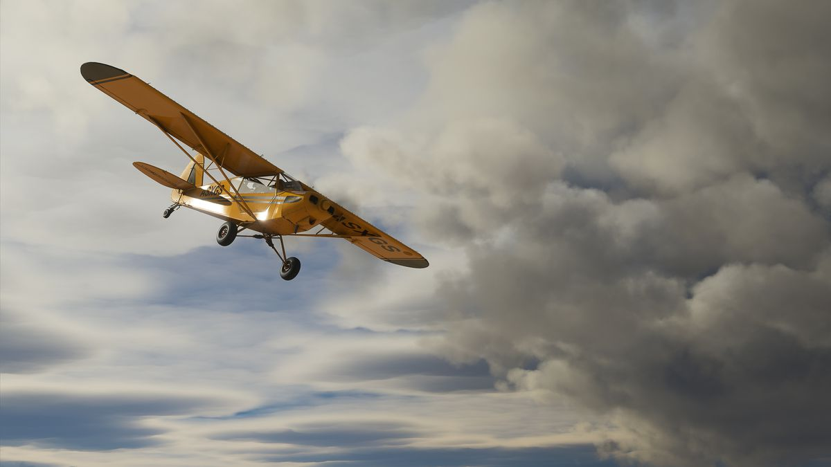 A yellow bush plane angles steeply down while dark clouds roil overhead in Microsoft Flight Simulator