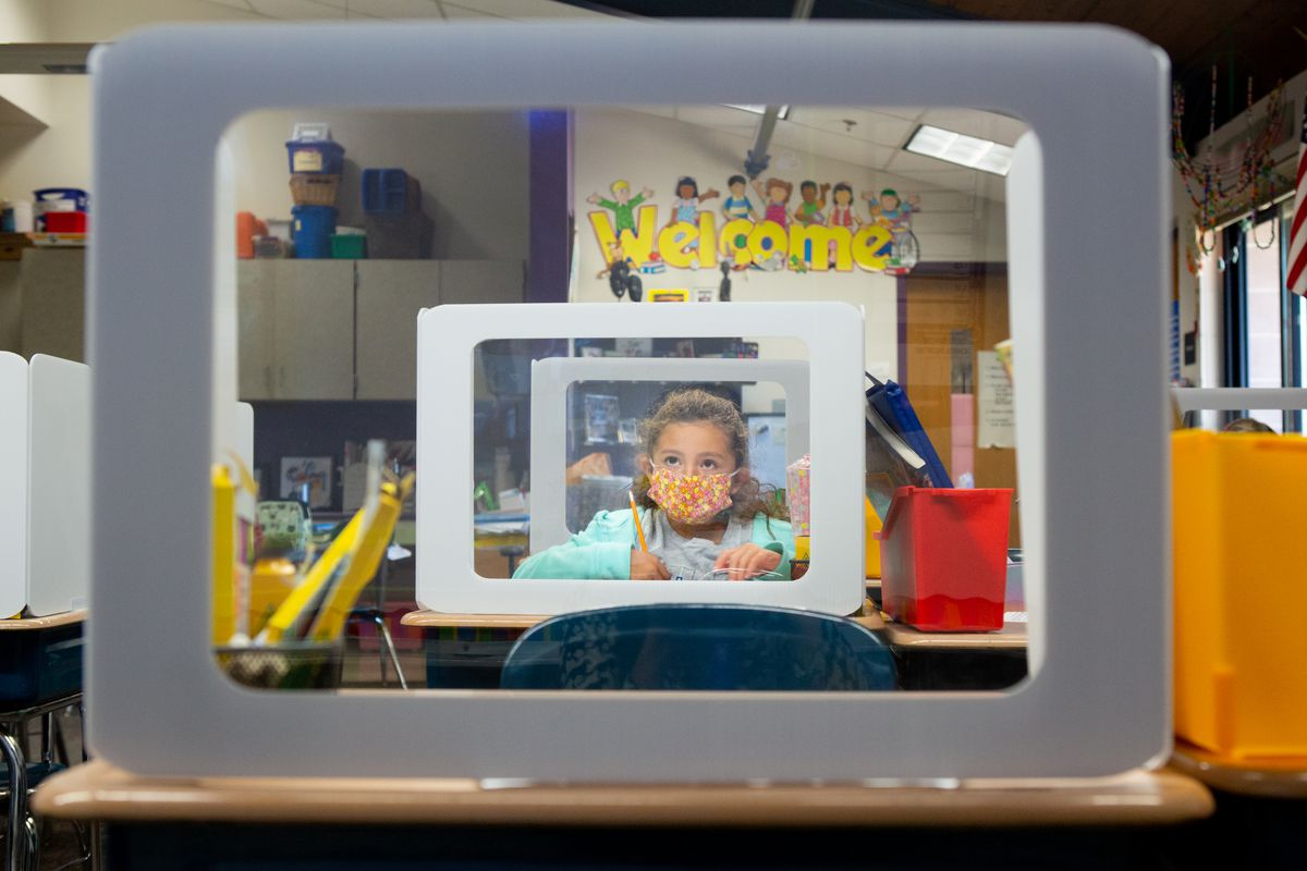 A young elementary student depicted on a computer screen behind a desk screen