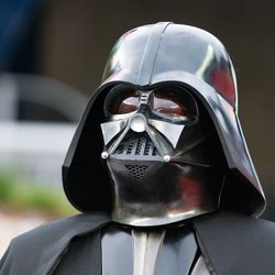 FOXBOROUGH, MA - MAY 25: Darth Vader was on hand for Star Wars Night at Gillette Stadium on May 25, 2019 in Foxborough, Massachusetts. (Photo by J. Alexander Dolan - The Bent Musket)