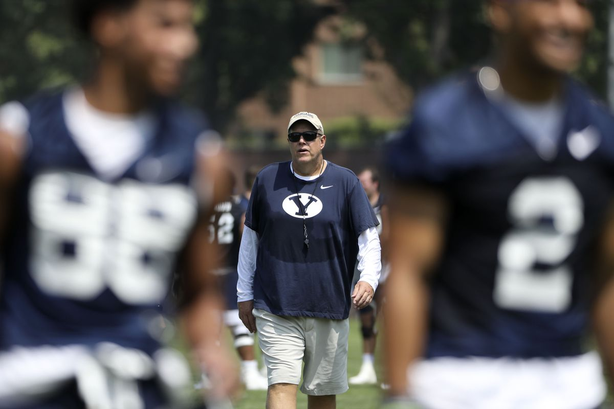 BYU offensive line coach Darrell Funk attends practice in Provo on Thursday, Aug. 5, 2021.