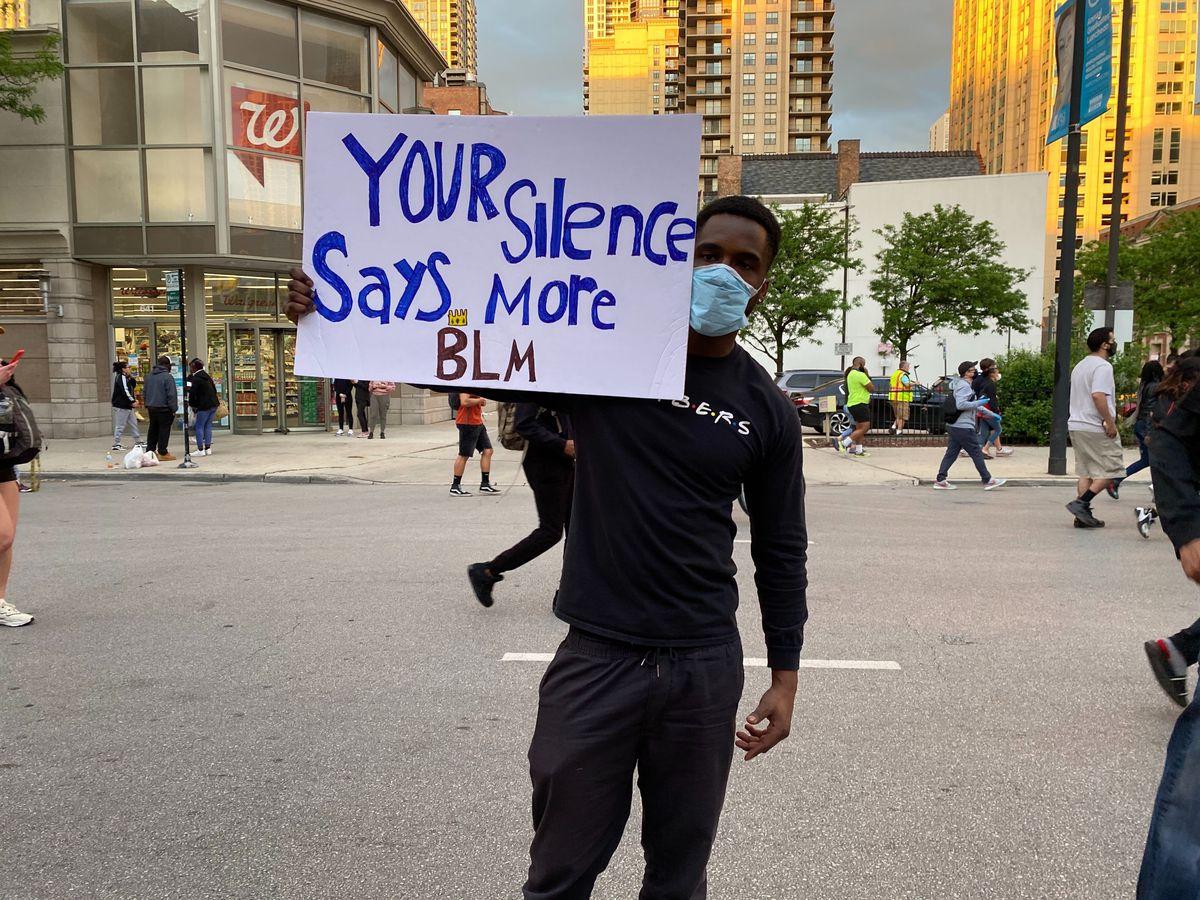 Josh Byrd was among the protesters who marched in Chicago Friday night, angered by the death of George Floyd in Minneapolis.