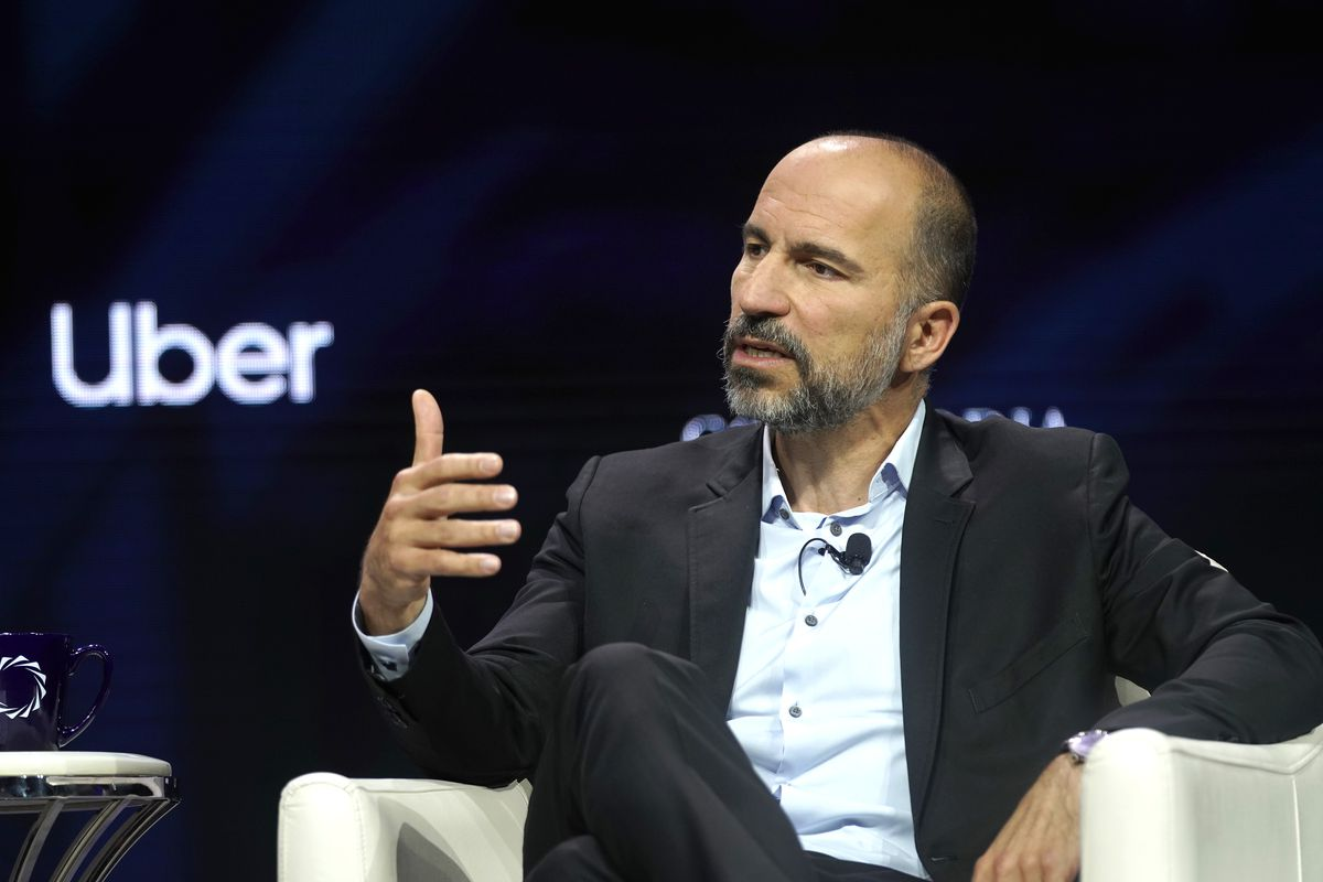 Uber CEO Dara Khosrowshahi speaks onstage at a summit in New York City.
