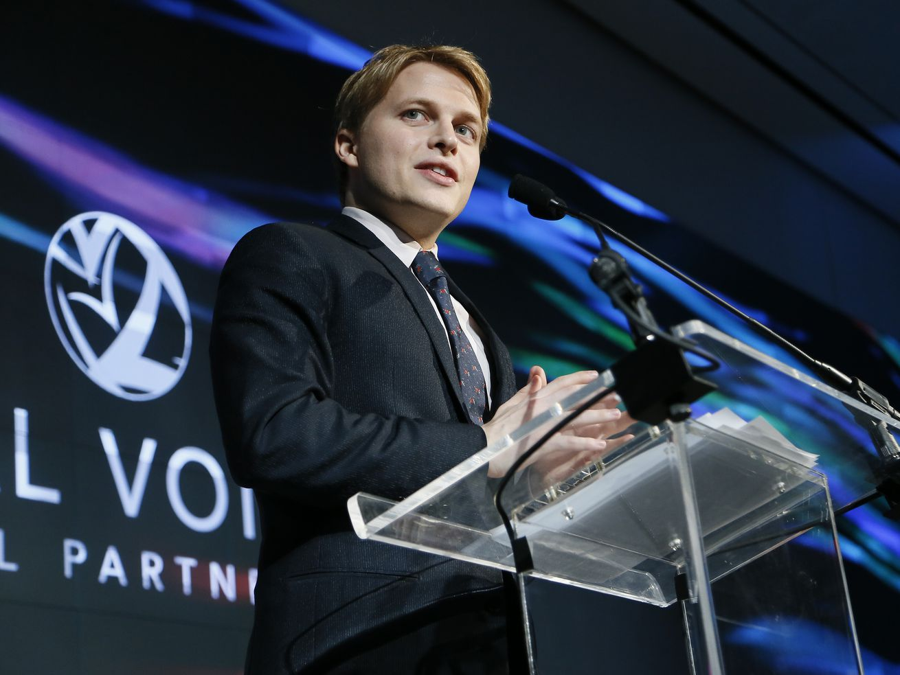 Ronan Farrow speaks at an event in New York City in December 2017.