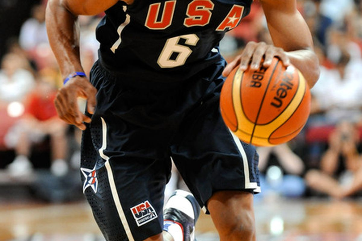 Russell Westbrook, his awesome 'do, and Kevin Durant will be playing for Team USA in the FIBA World Championships. (Photo by Ethan Miller/Getty Images)