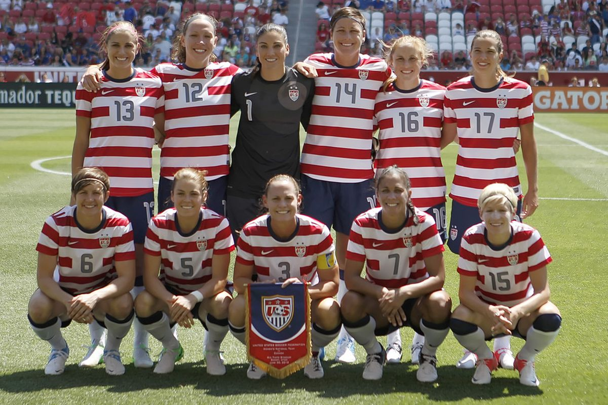 SANDY, UT - JUNE 30: The USA team poses for a picture before a game against Canada during the first half of the women's Olympic send-off soccer match June 30, 2012 at Rio Tinto Stadium in Sandy, Utah.  (Photo by George Frey/Getty Images)