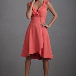 """Post-wedding, BHLDN's <a href=""""http://www.bhldn.com/bridal-party-guests-bridesmaids/macaron-shoppe-dress-coral/productoptionids/b9f90e01-f208-4a5b-afe6-05e832611fda"""">Macaron Shoppe Dress</a> ($220) would look cute paired with a cardigan and a statement ne"""