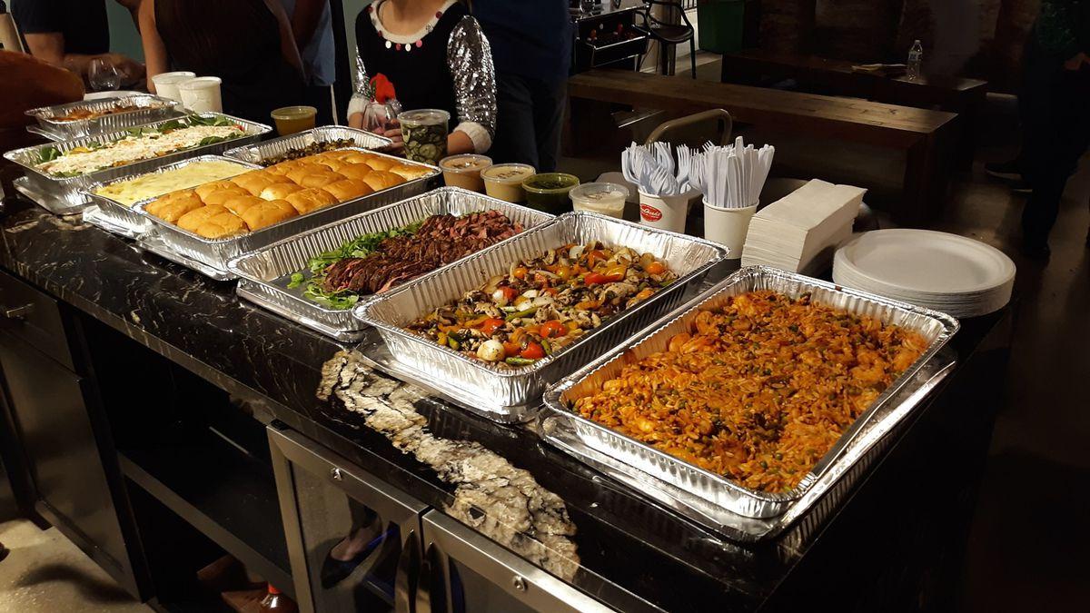 An array of food set up by URATX