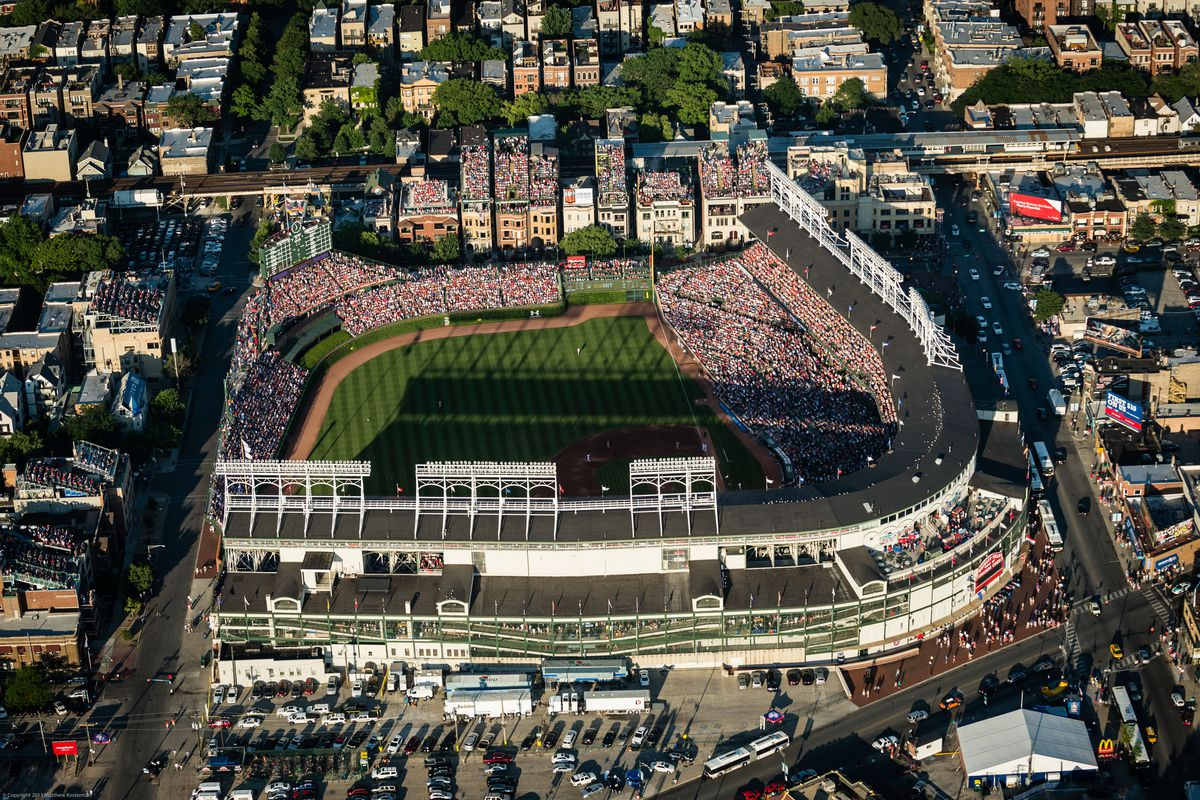 An aerial view of Clark & Addison adjacent to Wrigley Field, taken July 11, 2013