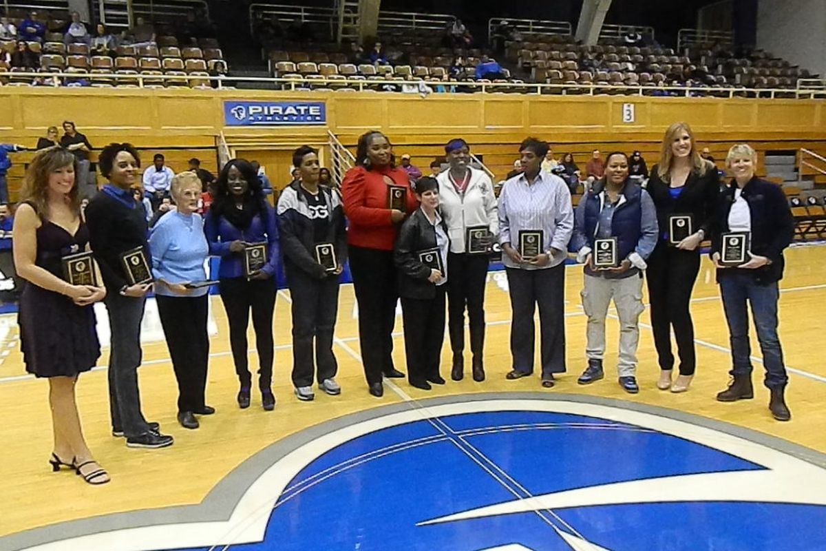 The 1994 Seton Hall team with coach Phyllis Mangina in the front of the group.