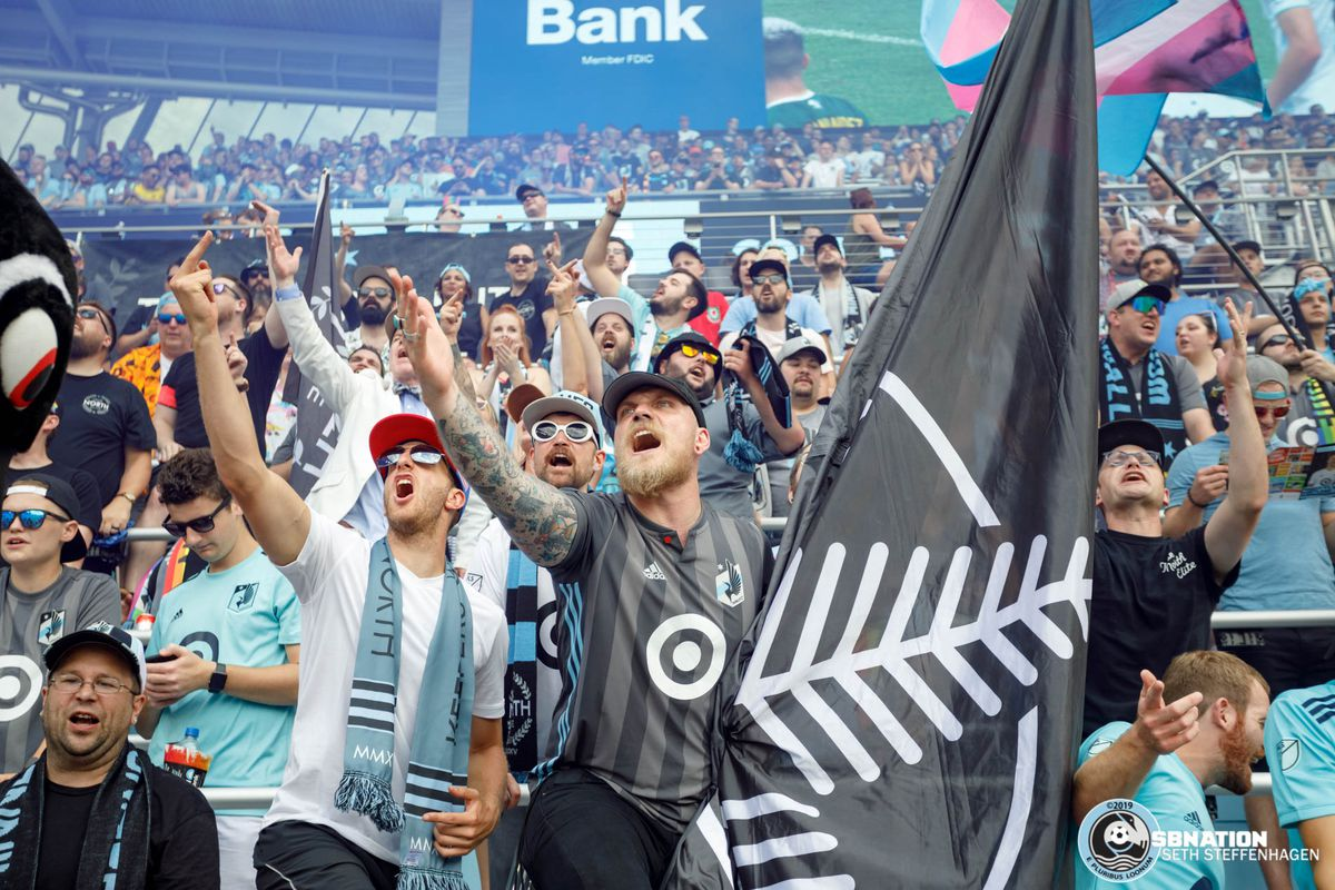 August 4, 2019 - Saint Paul, Minnesota, United States - The Wonderwall erupts with frustration during the Minnesota United vs Portland Timbers match at Allianz Field.