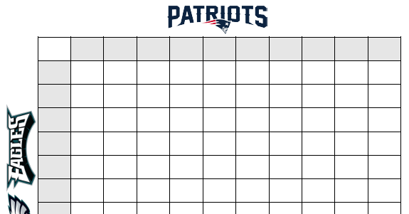Super Bowl Squares Template A Playing Guide For Patriots Vs Eagles
