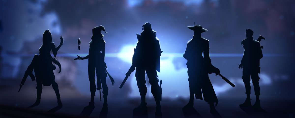 Five Valorant character stand in silhouettes against a dark and foggy background