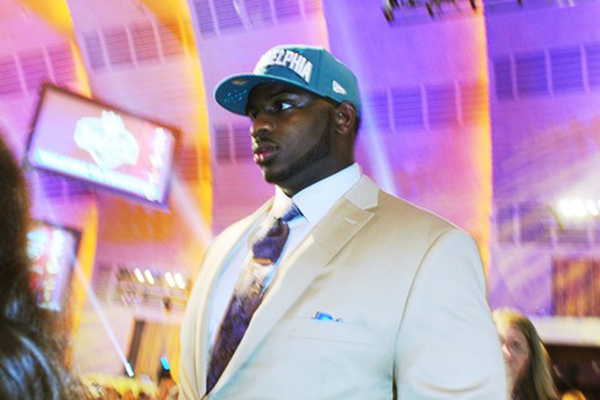 Apr 26, 2012; New York, NY, USA; Mississippi State defensive tackle Fletcher Cox after being selected as the 12th overall pick by the Philadelphia Eagles in the 2012 NFL Draft at Radio City Music Hall. Mandatory Credit: James Lang-US PRESSWIRE