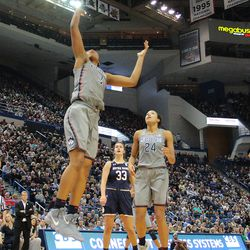 UConn's Megan Walker (3) lays it in during the Notre Dame Fighting Irish vs UConn Huskies women's college basketball game in the Women's Jimmy V Classic at the XL Center in Hartford, CT on December 3, 2017.