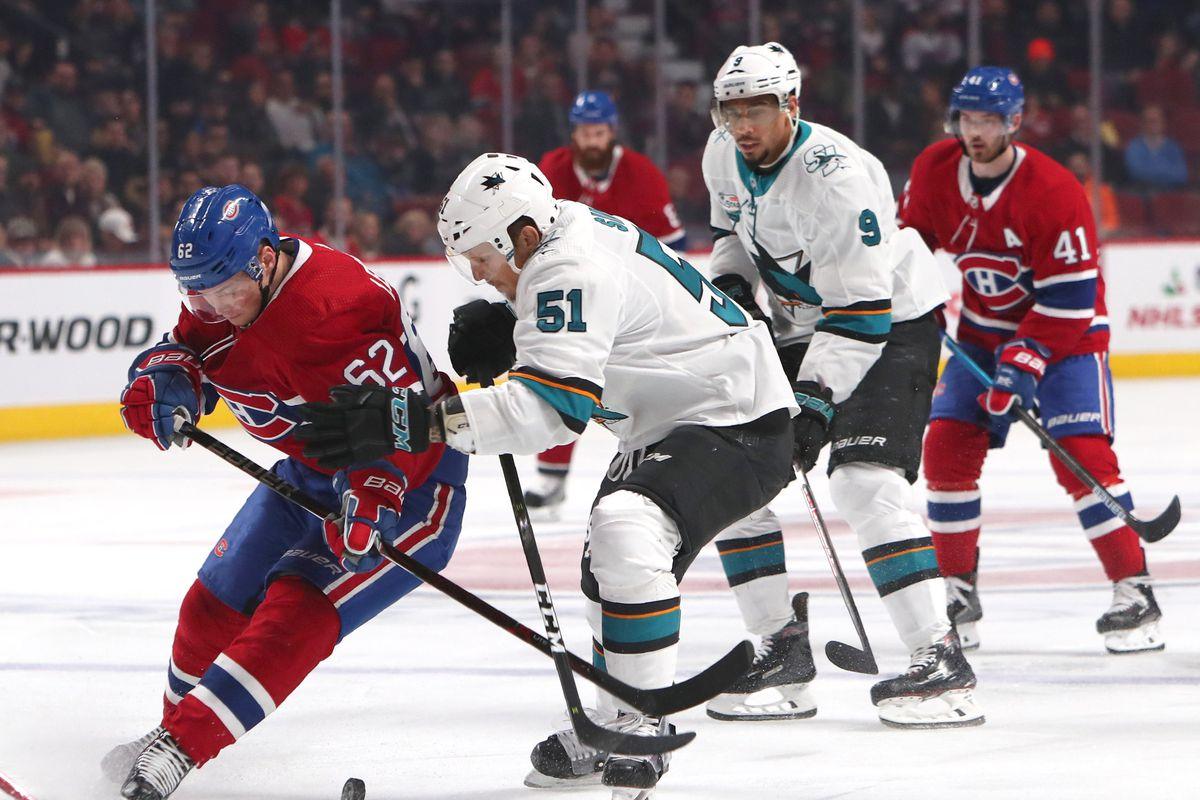 NHL: Radim Simek of the San Jose Sharks at Montreal Canadiens