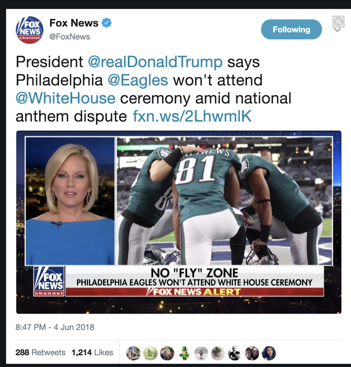 White House: 'Vast Majority' Of Eagles Have 'Abandoned Their Fans'