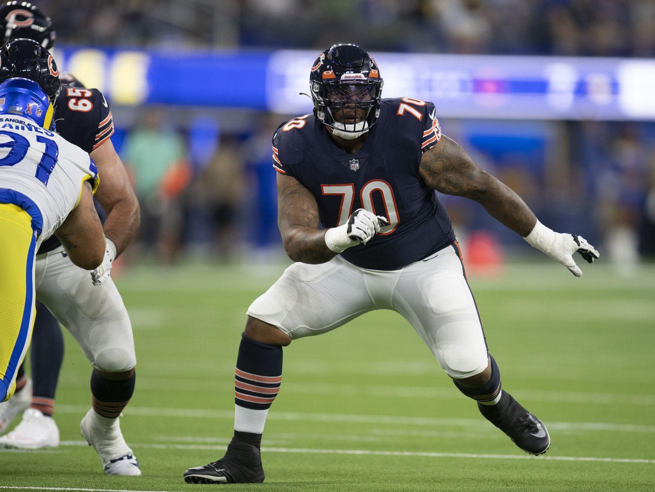 Veteran Elijah Wilkinson (70, playing against the Rams in the season opener) has started 26 NFL games in five seasons.