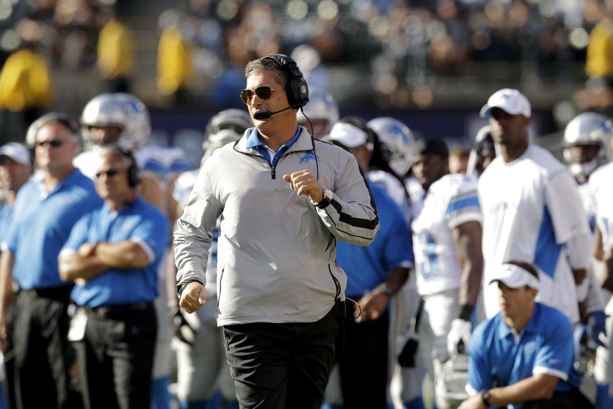 August 25, 2012; Oakland, CA, USA; Detroit Lions head coach Jim Schwartz runs down the sideline before calling a timeout against the Oakland Raiders in the second quarter at O.co Coliseum. Mandatory Credit: Cary Edmondson-US PRESSWIRE
