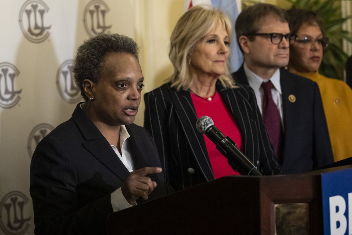 Mayor Lori Lightfoot will appear with Joe Biden in a recorded Democratic convention segment Monday night. Pictured: Former second lady Jill Biden with Lightfoot during a news conference at the Union League Club on March 6 when Lightfoot endorsed Biden.