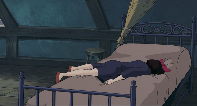 Kiki lies face down in Kiki's Delivery Service.