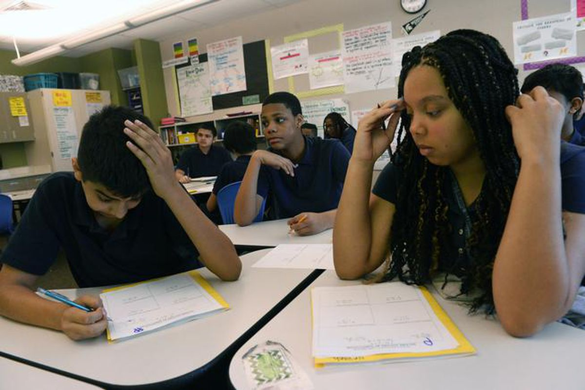 Students at Aurora's Boston K-8 school in spring 2015. (Photo by Helen H. Richardson/The Denver Post).