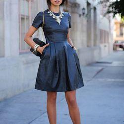 "Annabelle of <a href=""http://vivaluxury.blogspot.com""target=""_blank""> Viva Luxury</a> is wearing an <a href=""http://www.theoutnet.com/product/388225""target=""_blank""> Iris & Ink</a> leather dress, a J. Crew <a href=""http://www.jcrew.com/browse/single_produ"