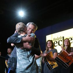 Salt Lake City Mayor Ralph Becker hugs his wife, Kate Kopischke, after addressing supporters at his election night party at Club 50 West in Lake City on Tuesday, Nov. 3, 2015.