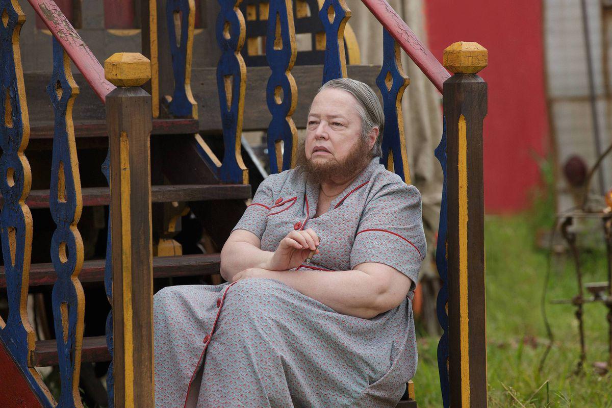 Yep, that's Kathy Bates in the latest season of American Horror Story.