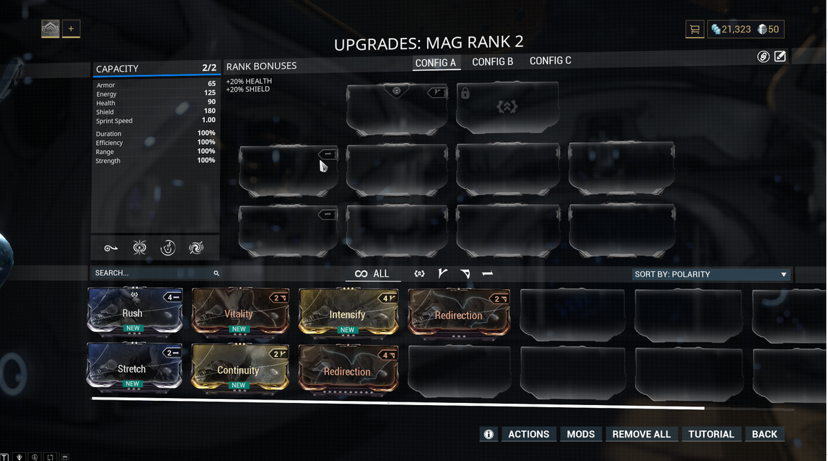 Image: A picture of the Warframe mod screen on a fresh account