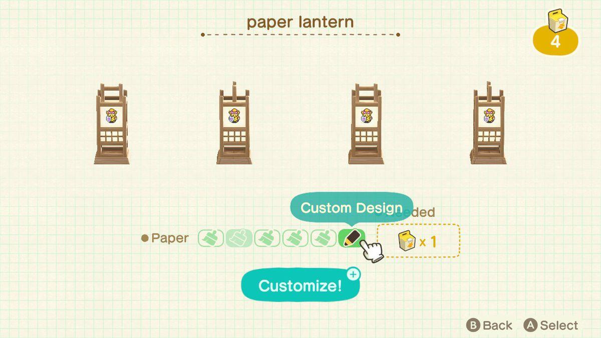 Customizing furniture in Animal Crossing New Horizons