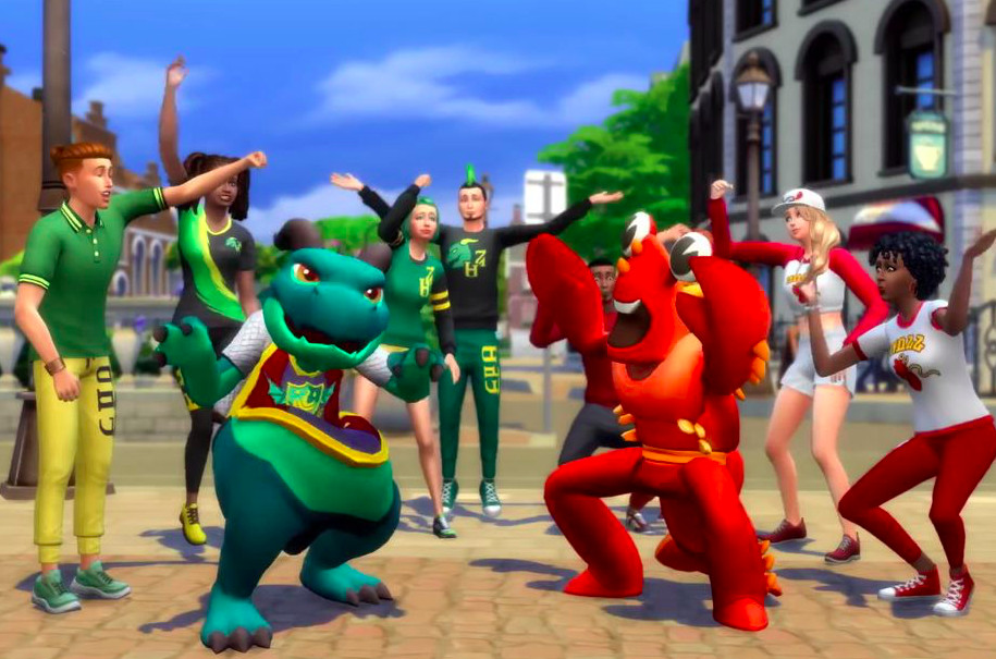 Students cheer in The Sims 4.