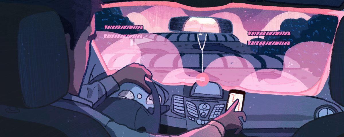 An illustration of a ride-share driver behind the wheel of a car.