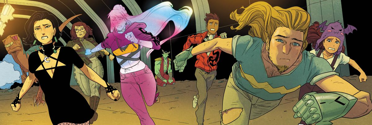 LtR: Old Lace, Nico, Gert, Karolina, Victor, Chase, and Molly dash towards the viewer, while Gib kneels alone in the back, in Runaways #18, Marvel Comics (2019).